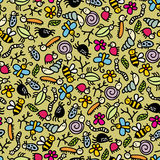 Insects world seamless pattern. Royalty Free Stock Image