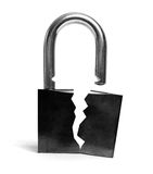 Insecure broken lock Stock Image
