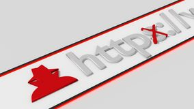 Insecure http internet connection browser bar. Browser bar with hacker icon and insecure http connection 3D illustation vector illustration