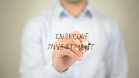 Insecure Investment, man writing on transparent screen Royalty Free Stock Photos