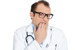 Insecure man, doctor Royalty Free Stock Images