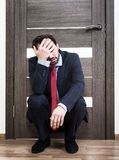 Insecure man waiting for a job interview Royalty Free Stock Photography