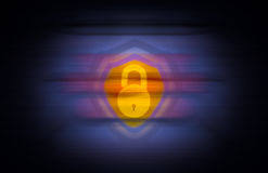 Insecure shield with open lock and seamless background Royalty Free Stock Images