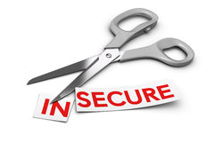 Insecure vs Secure - Security Concept Royalty Free Stock Photo