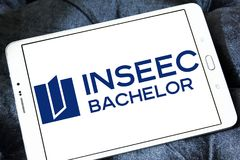 INSEEC Business School logo. Logo of INSEEC Business School on samsung tablet. The INSEEC Bachelor is a program in 3 years training future managers, giving royalty free stock image
