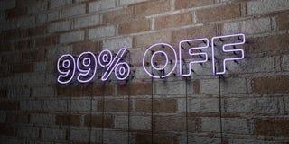 Insegna al neon d'ardore FUORI di 99% sulla parete del lavoro in pietra - 3D ha reso l'illustrazione di riserva libera della sovr Fotografia Stock