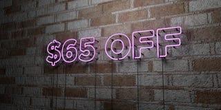 Insegna al neon d'ardore FUORI $65 sulla parete del lavoro in pietra - 3D ha reso l'illustrazione di riserva libera della sovrani illustrazione vettoriale