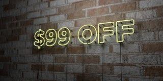 Insegna al neon d'ardore FUORI $99 sulla parete del lavoro in pietra - 3D ha reso l'illustrazione di riserva libera della sovrani Fotografie Stock