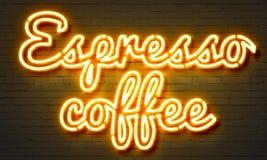 Insegna al neon del caffè del caffè espresso sul fondo del muro di mattoni Fotografia Stock Libera da Diritti