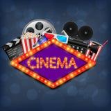 Insegna al neon del cinema, illustrazione del fondo del cinema illustrazione di stock