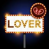 Insegna al neon del cuore rotto e dell'amante Fotografia Stock