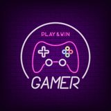 Insegna al neon del regolatore del gioco Insegna della luce al neon per il logo del gamer con gamepad luminoso Vettore royalty illustrazione gratis