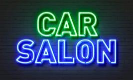 Insegna al neon del salone dell'automobile sul fondo del muro di mattoni Immagine Stock Libera da Diritti