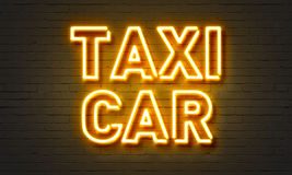 Insegna al neon dell'automobile del taxi Immagini Stock Libere da Diritti