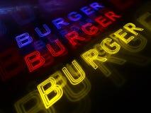 Insegna al neon dell'hamburger Fotografie Stock Libere da Diritti