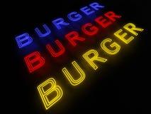 Insegna al neon dell'hamburger Fotografia Stock Libera da Diritti