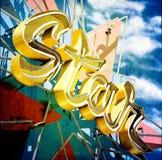 Insegna al neon della stella illustrazione di stock