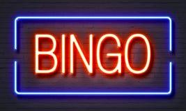 Insegna al neon di bingo Fotografia Stock