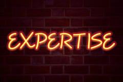 Insegna al neon di competenza sul fondo del muro di mattoni Segno fluorescente del tubo al neon sul concetto di affari della mura Immagine Stock