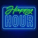 Insegna al neon di happy hour illustrazione vettoriale