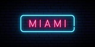 Insegna al neon di Miami Insegna della luce intensa illustrazione vettoriale