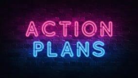 Insegna al neon di piani d'azione, grande progettazione per qualsiasi scopi 3d rendono Disegno moderno Retro progettazione dell'e royalty illustrazione gratis