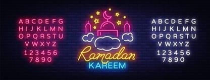 Insegna al neon di Ramadan Kareem Insegna nello stile al neon, insegna luminosa di notte, celebrazione di vettore di Ramadan Kare royalty illustrazione gratis