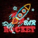 Insegna al neon di Rocket, insegna luminosa, insegna leggera Logo dello spazio, emblema illustrazione di stock