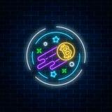 Insegna al neon di valuta crescente del bitcoin Cryptocurrency coltiva l'emblema con le forme della stella nel telaio del circke Fotografie Stock