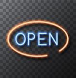 Insegna al neon moderna di vettore su fondo trasparente Insegna della struttura aperta Fotografia Stock Libera da Diritti