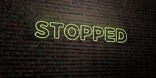 - Insegna al neon realistica sul fondo del muro di mattoni - 3D FERMATO ha reso l'immagine di riserva libera della sovranità illustrazione di stock