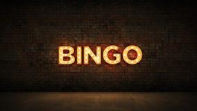 Insegna al neon sul fondo del muro di mattoni - bingo rappresentazione 3d illustrazione vettoriale