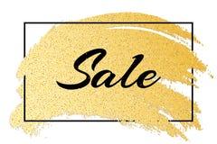 Insegna alla moda di lusso da vendere Testo nero nel telaio Linea di lerciume disegnata a mano Scintilli dell'oro Sbavatura brill Fotografia Stock Libera da Diritti