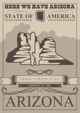 Insegna americana di viaggio dell'Arizona Carta dello stato del Grand Canyon royalty illustrazione gratis