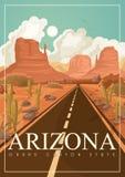 Insegna americana di viaggio dell'Arizona Manifesto con i paesaggi dell'Arizona nello stile d'annata royalty illustrazione gratis