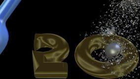 insegna animata di cinquantesimo anniversario video con la bottiglia blu di champagne, bolle d'argento che esplodono e che girano illustrazione di stock