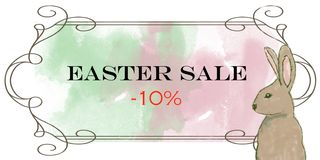 Insegna/annuncio/manifesto di vendite di Pasqua con coniglio illustrazione di stock