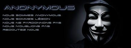 insegna anonima del gruppo online di hacktivist Immagine Stock Libera da Diritti