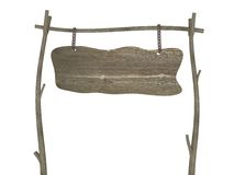 Insegna antiquata di legno in bianco Fotografia Stock Libera da Diritti
