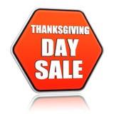 Insegna arancio di esagono di vendita di giorno di ringraziamento Fotografie Stock Libere da Diritti