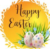 Insegna arancio di Pasqua con le uova illustrazione vettoriale