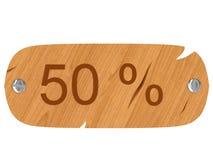 Insegna arrestata di legno con l'iscrizione di 50% Immagini Stock Libere da Diritti