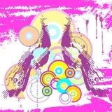 Insegna astratta con due pavoni e circ colorato Fotografie Stock Libere da Diritti