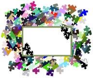 Insegna astratta con i pezzi di puzzle Immagini Stock