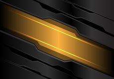Insegna astratta della luce gialla sul vettore futuristico moderno del fondo di tecnologia del metallo di progettazione grigio sc illustrazione vettoriale