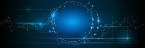 Insegna astratta delle molecole con la linea del cerchio, struttura della molecola Fondo di comunicazione della rete di progettaz illustrazione di stock