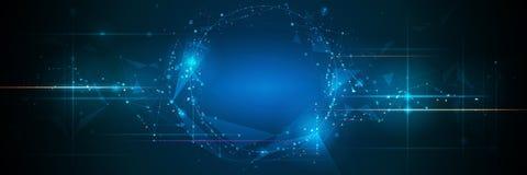 Insegna astratta delle molecole con la linea, geometrica, poligono Fondo della rete di progettazione di vettore illustrazione di stock