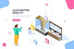 Insegna aumentata del sito Web di visualizzazione di realtà illustrazione vettoriale