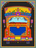 Insegna benvenuta variopinta nello stile del kitsch di arte del camion dell'India illustrazione di stock