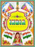 Insegna benvenuta variopinta nello stile del kitsch di arte del camion dell'India illustrazione vettoriale